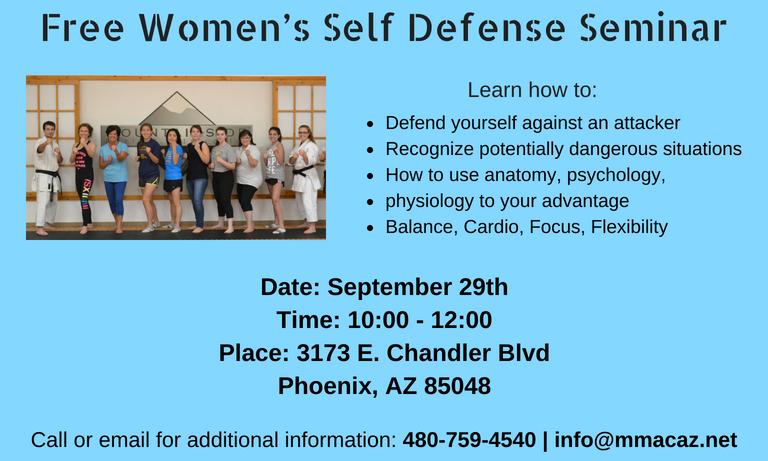 Womens Self defense class seminar